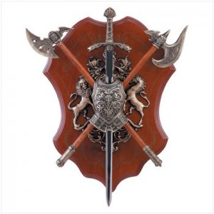 Sword and Axe with Shield Display
