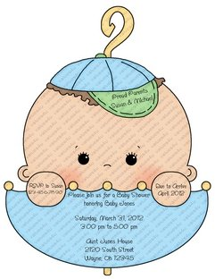Baby Shower Invitations-Laser guided contour cut to shape -New Item!!