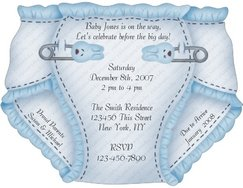 Personalized Baby Shower Diaper Invitations (ccdiaper103) contour cut to shape of diaper