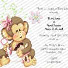 Personalized Baby Shower Invitations Monkey (babygirl2016))