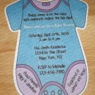 Personalized Die Cut  Onesie Baby Shower Invitaitons (cconesie126)