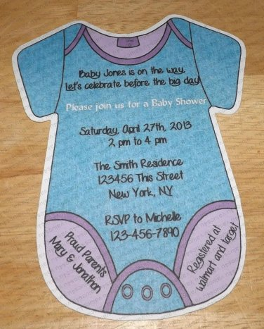 Personalized Die Cut  Onesie Baby Shower Invitaitons (cconesie126)
