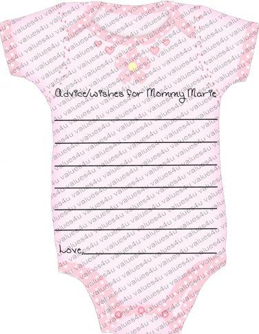 Contour Cut Onesie Baby Shower Advice Cards (cconesieadvicecard103)