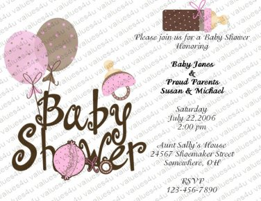 Personalized Baby Shower Invitations (baby girl809)