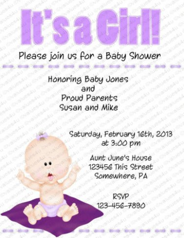 Personalized Baby Shower Invitations (baby girl2033)