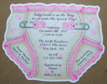 Personalized Die Cut Diaper Baby Shower Invitaiton (ccdiaper104)