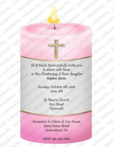 Personalized Die Cut Christening Invitations (cccandle101)