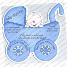 Personalized Die Cut Carriage Baby Shower Invitations NEW! Assorted Colors