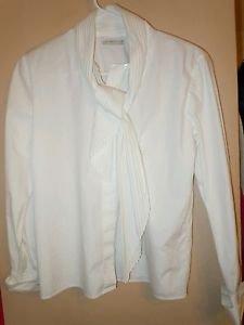 Womens Liz Caiborne white button front long sleeve blouse top shirt size 4 Petit