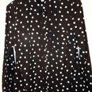 Womens Merona black/white polka dot long sleeve button front blouse size Small