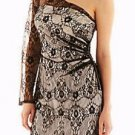 Junior's Lilliana One Shoulder Mini Black Lace Dress Size 0 NWT