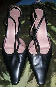 Womens Liz Claiborne black leather pumps heels size 7 1/2 shoes