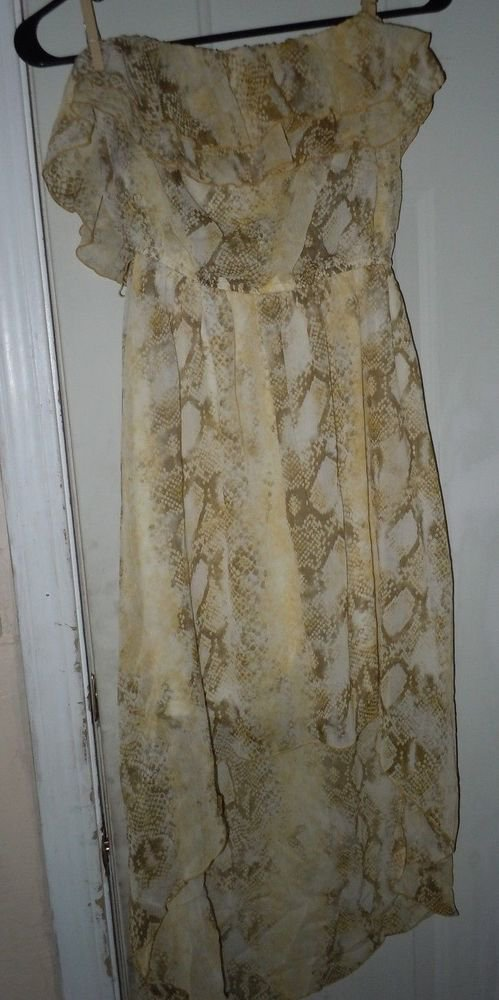 Womens Juniors My Michelle Gold/Yellow/Brown strapless maxi dress size M