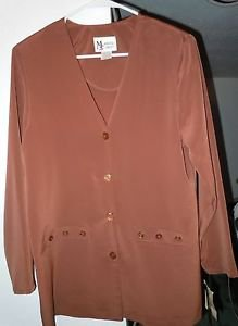 Womens Maggie Sweet Brown Button Front Blouse Jacket Size S NWT