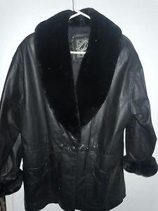 Womens Vintage WINLIT black genuine leather jacket coat faux fir trim size M