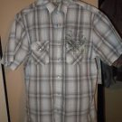 Men's Sonoma fitted collar snap front short sleeve brown plaid shirt size M