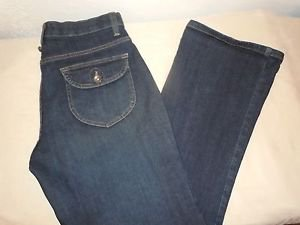 Lee Comfort Waistband Stretch Womens Dark Wash Boot Cut Jeans Size 4 Petite
