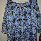 Womens White Stag blue black floral blouse silk-like size XL