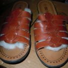 Basic Editions Leather Collection slip on sandals Womens size 9