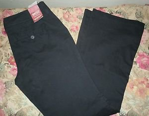 Womens Arizona Jeans Classic Boot Cut Black Flat Front Pants Size 13 NWT
