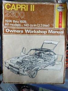 HAYNES CAPRI II 2800 1975-78 All V6 Models OWNERS WORKSHOP MANUAL 171 cu in (2.8