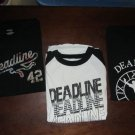 Lot of 3 Mens Deadline T-shirts Size XXL Black/White Short Long Sleeve