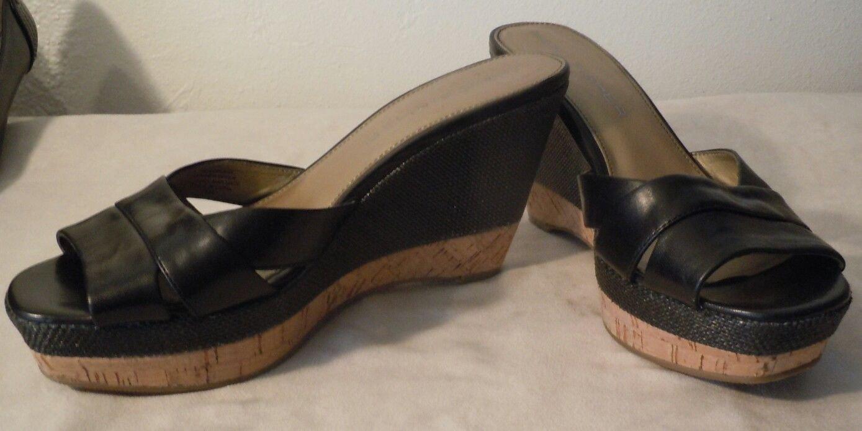 Womens Marc Fisher black leather slip on platform sandals size 7 1/2M