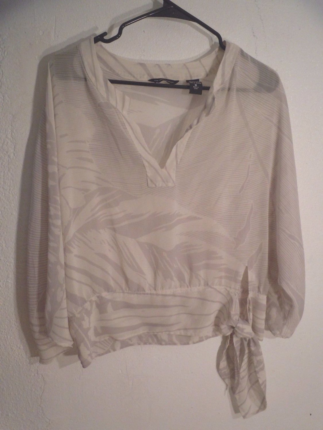 New York & Company sheer ivory blouse top size M