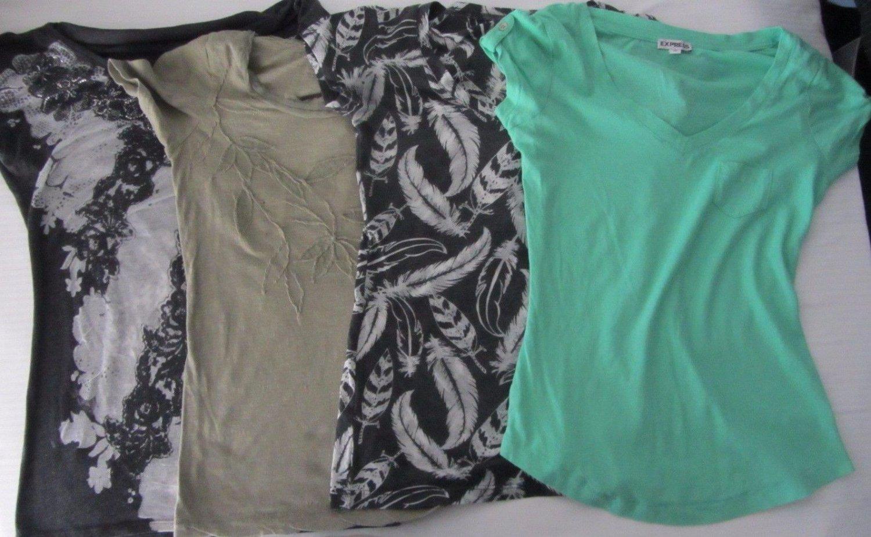 Lot of 4 Womens T-shirts Size XS/S Express Ann Taylor Loft Grey Green