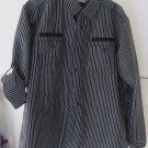 Mens Black/White Striped Akuma Button Front Long Sleeve Shirt Size XL