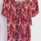 Womens White Stag Orange Multi-Color Floral Top Shirt Size S (4-6) NWT