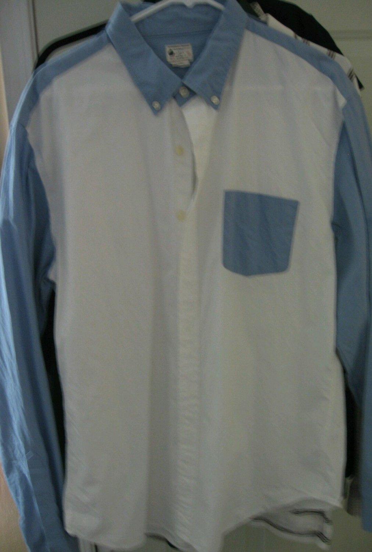 Mens J. Crew Blue White Button Down Dress Shirt Size XL
