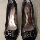 "Womens Anne Klein ""Manamesaketj"" Black Leather Pumps Size 7 1/2"