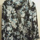 5Womens Foxcroft fitted button front blue/black/white size 16 wrinkle free NWOT