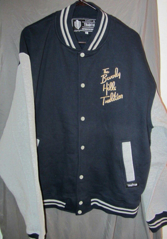 The Beverly Hills Tradition Navy Blue/Grey  Letterman Sweatshirt Jacket Size 2XL