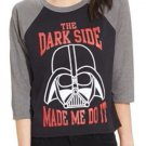 Juniors Disney Star Wars Darth Vader black/gray tshirt size S NWT