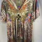 Womens One World Short Sleeve Multi-color Blouse Size M