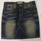 Womens Juniors Concert Club Lolita Exotic Vintage Denim Jean Mini Skirt Size M