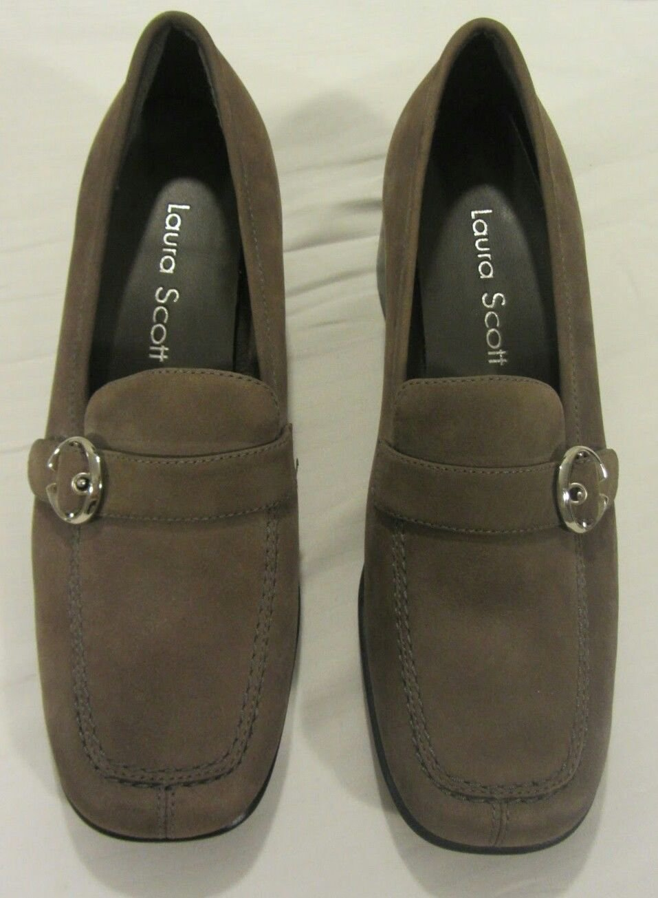 Laura Scott leather belted slip on oxfords taupe brown size 7