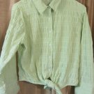 Womens St Johns Bay Stretch Lime Green Tie Front Button Down Shirt Blouse Size M