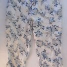 Faded Glory White/Blue Floral Cropped Capri Pants Size 16