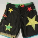 Mens Quicksilver Swim Trunks Size 38 Black Multi-color Stars