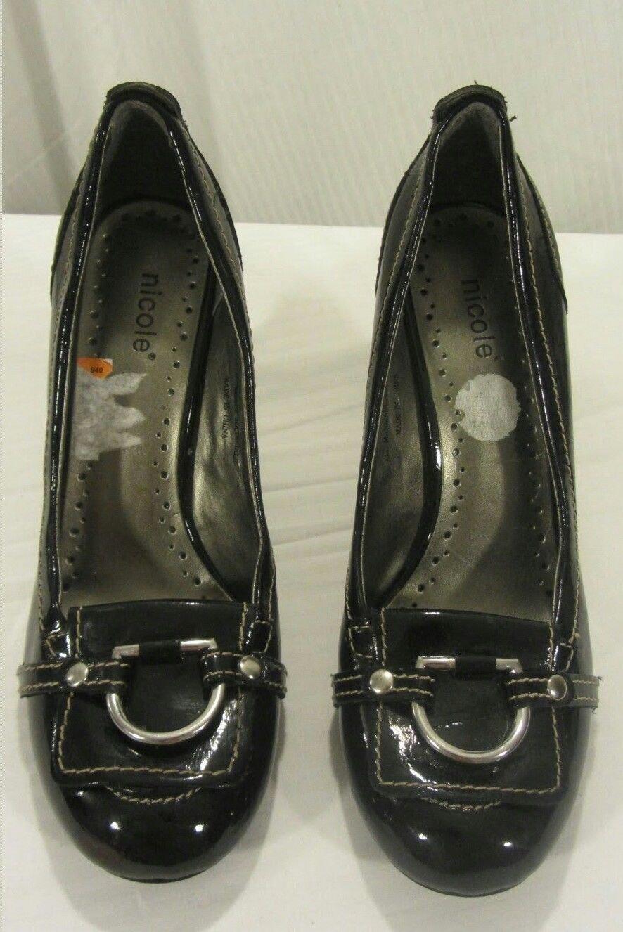 "Womens Nicole Black Patent ""Hardison"" heels size 8.5"
