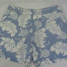 Womens Riveted by Lee Khakis blue/white Hawaiian print shorts size 14M