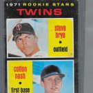 1971 Topps #391 Baseball Card Cotton Nash / Steve Brye Twins Rookies Twins