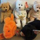 Lot of TY Beanie Babies Goldie Blackie Dearest Cashew 1994-2002