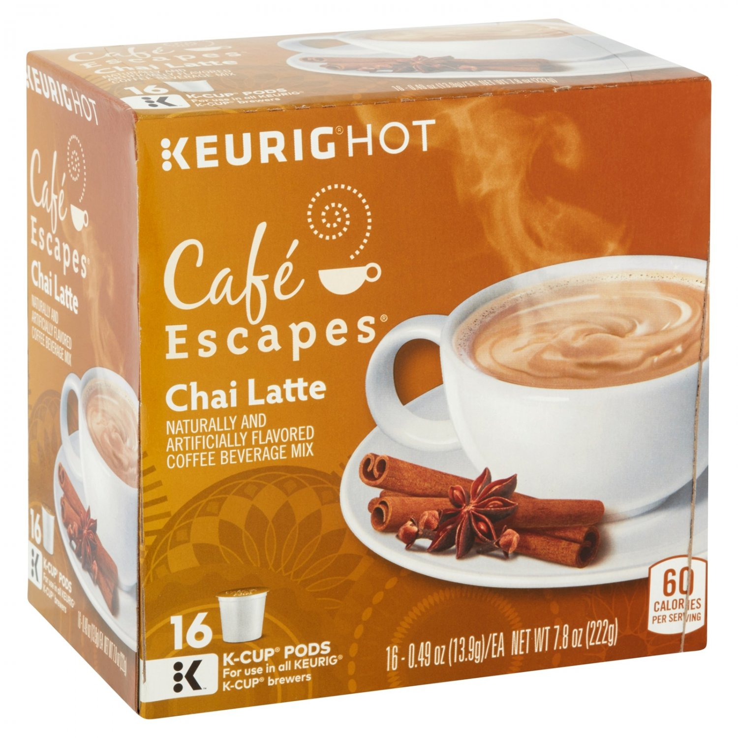 Keurig Cafe Escape Chai Latte K-Cups 16pc cappuccino black tea hot drinks coffee