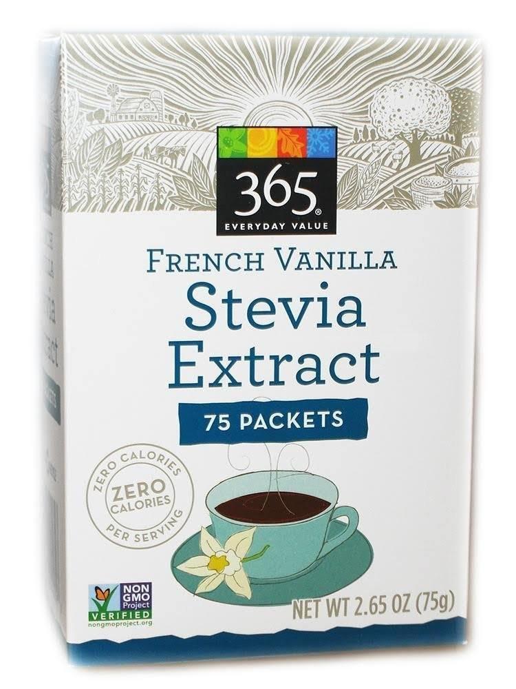 365 Everyday Value Organic French Vanilla STEVIA extract Sweetener 75 packets
