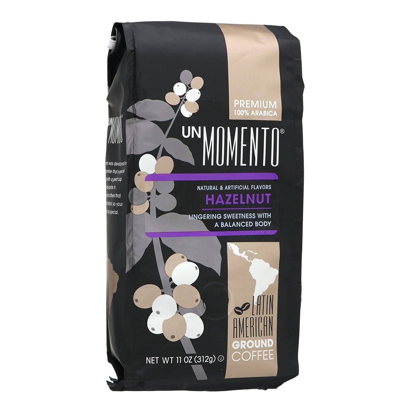 Un Momento Hazelnut Ground Coffee 11 oz Gourmet nut flavored beverage drink brew Gourmet
