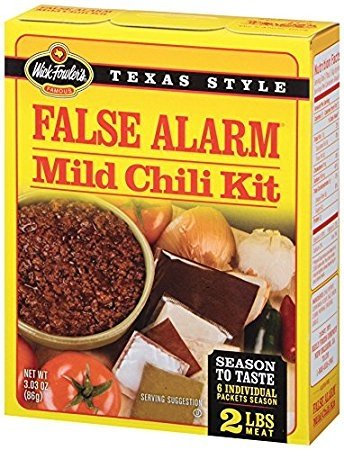 Wick Fowler's Texas Style False ALARM Mild Chili SPICE kit ground meat Seasoning MIX cooking chicken